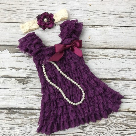 Girls Purple Dress. Toddler Lace Purple Dress