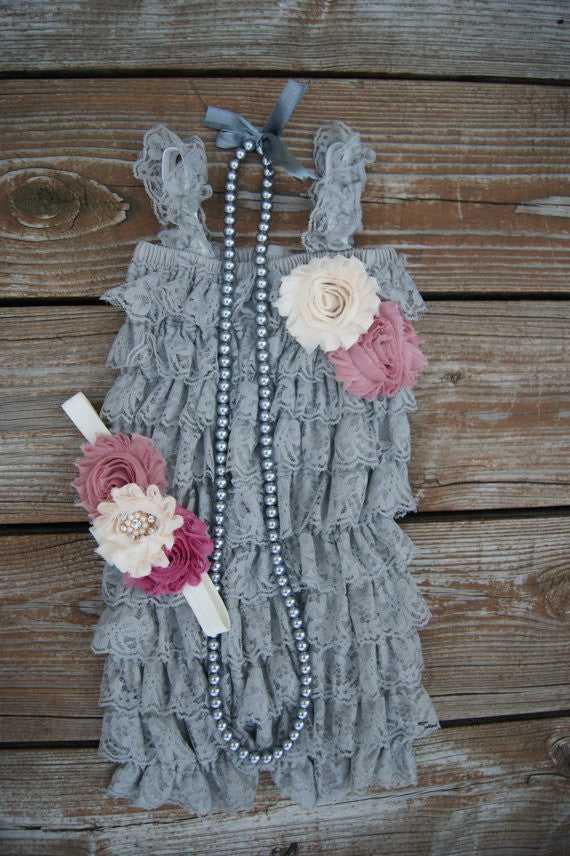 Vintage Inspired Gray Romper Set
