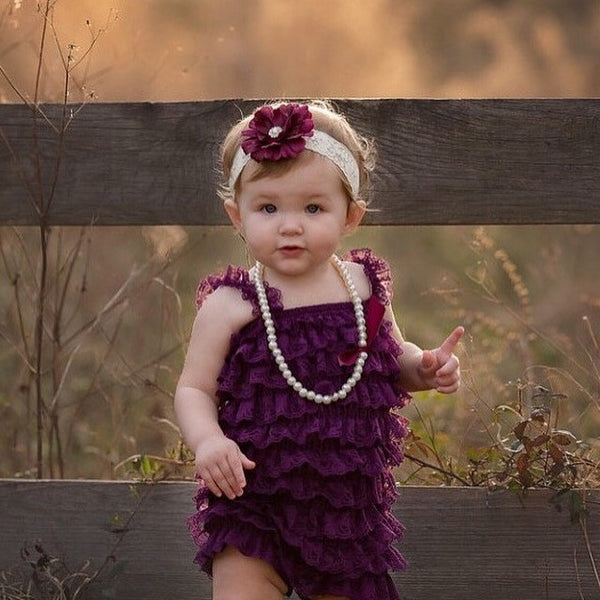 Baby Girl First Birthday Outfit. Purple Lace Romper