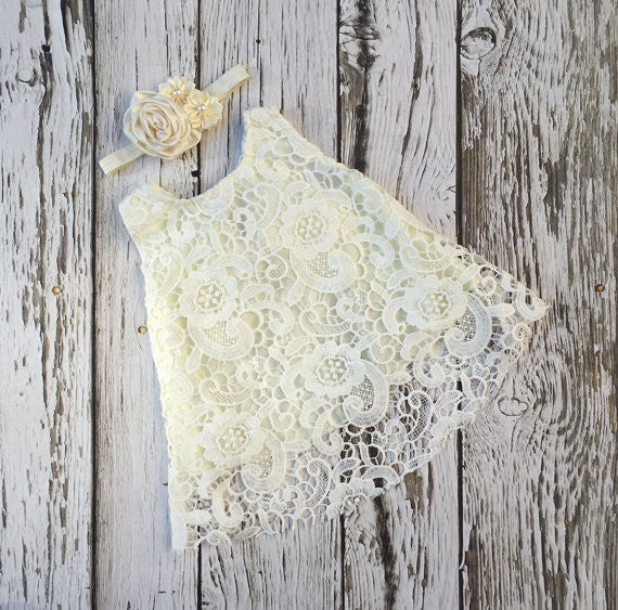 ivory lace baby girl dress