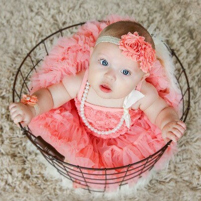 Tutu dress  Baby Girl Birthday Outfit. Peach Tutu Dress.