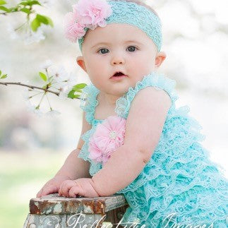 Aqua Lace Romper. Baby Girl Romper. First Birthday