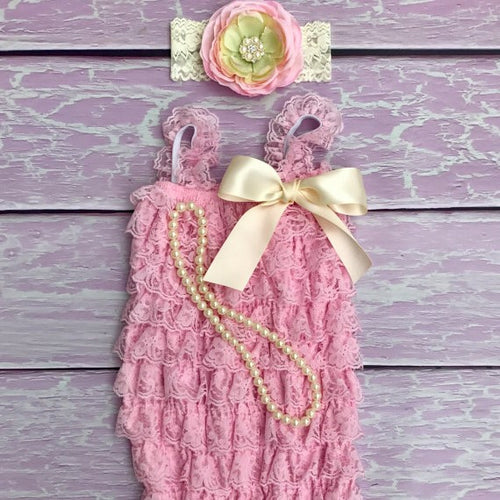 Pink Baby Romper. Girls Pink Outfit. Lace Baby Romper