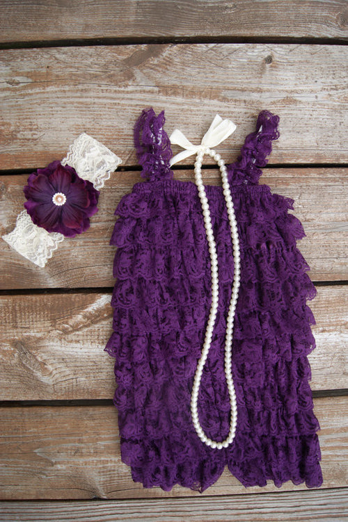 purple lace romper