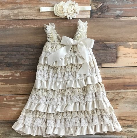 Girls Lace Flower Girl Dress. Country Flower Girl