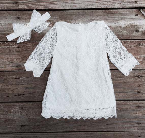 The TIffany lace dress -WHITE