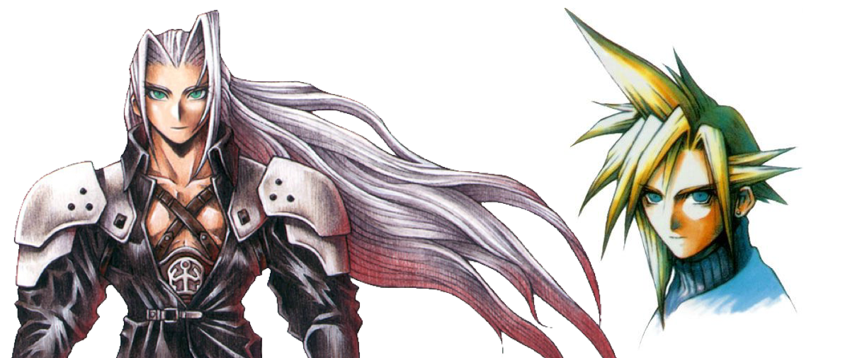 Tetsuya Nomura's original Final Fantasy VII character design artwork for Sephiroth, Cloud