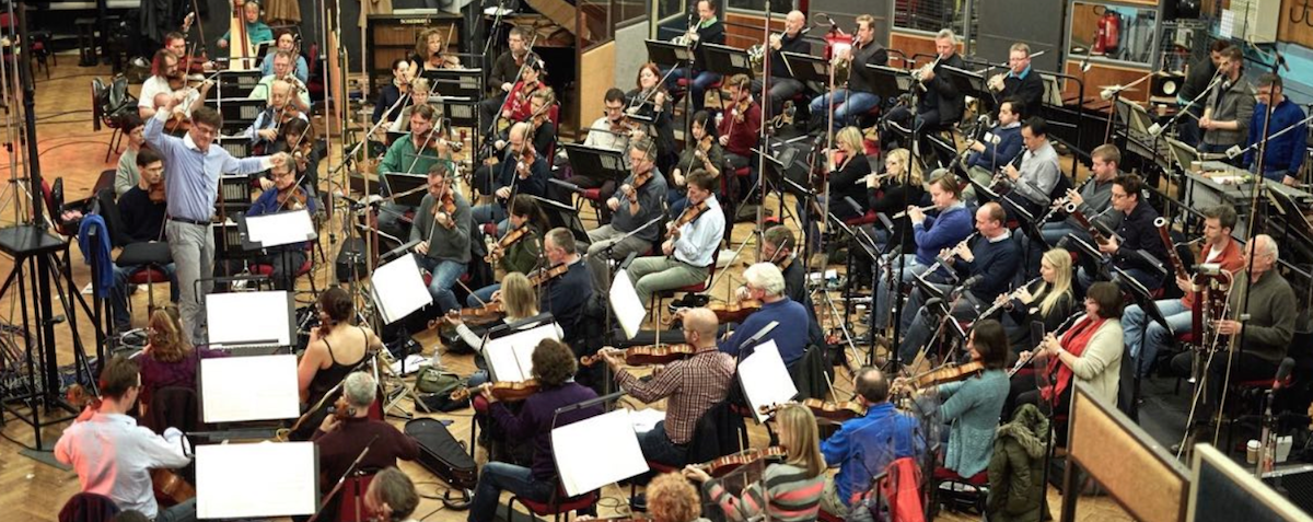 Eckehard Stier conducts the London Symphony Orchestra, recording Final Symphony at Abbey Road Studios