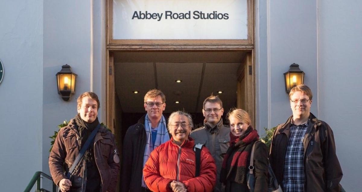 Final Fantasy composer Nobuo Uematsu and the production team behind Final Symphony at Abbey Road