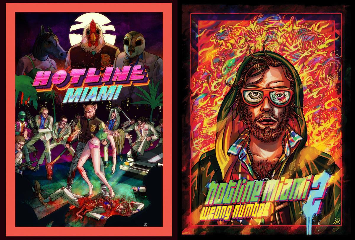 Niklas Åkerblad's covers for Hotline Miami (left) and Hotline Miami 2 — the latter featuring a self-portrait of him as the returning character, Beard: