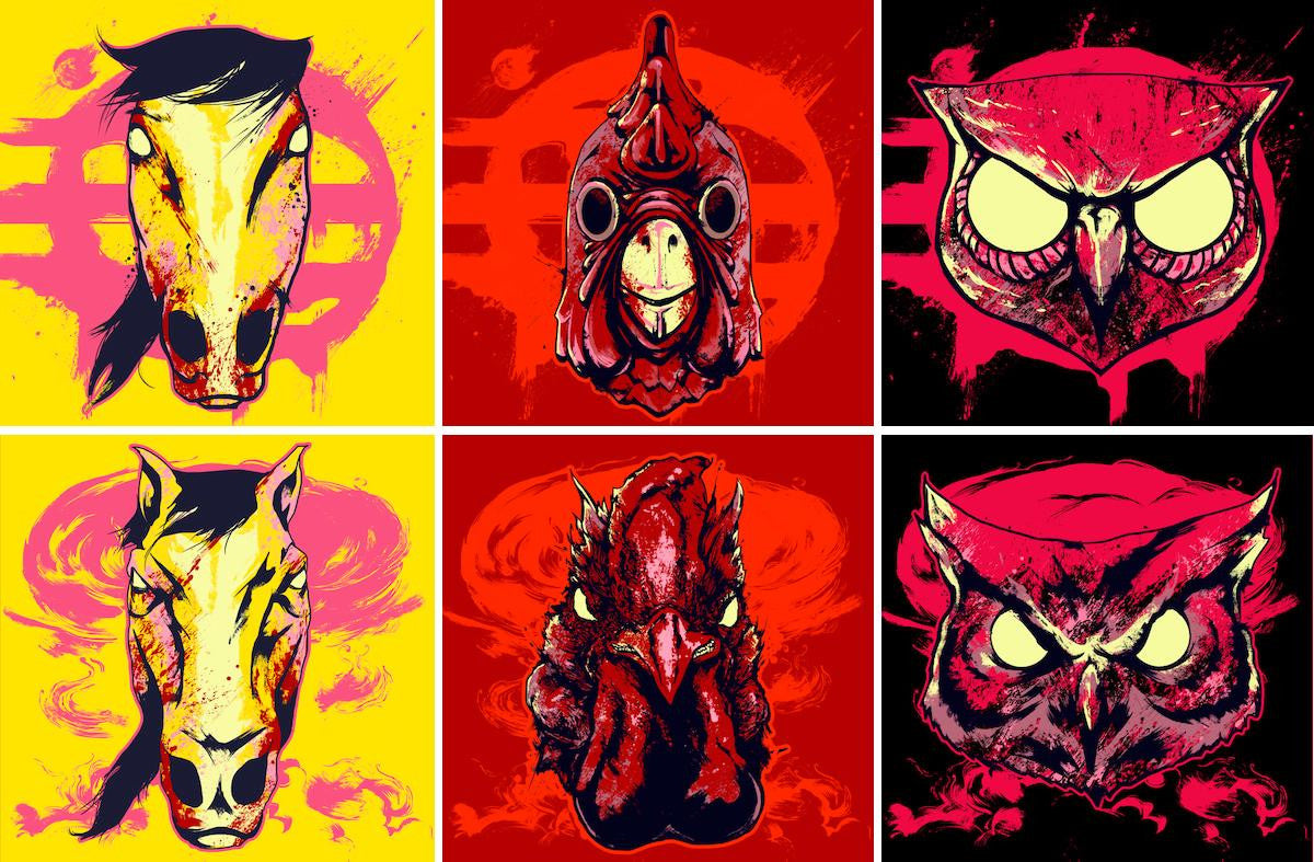 Protski's artwork for the Hotline Miami Collector's Edition Vinyl disc sleeves, featuring masks (from L-R) Don Juan, Richard and Rasmus