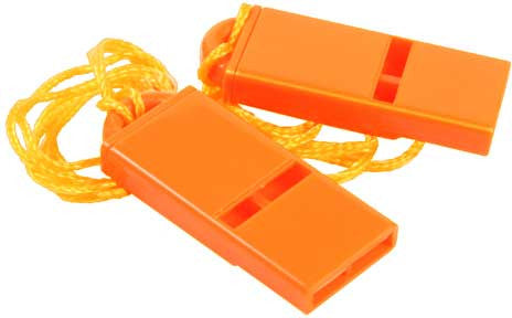 Safety Orange - Rugged Flat Whistle - 2 Pack