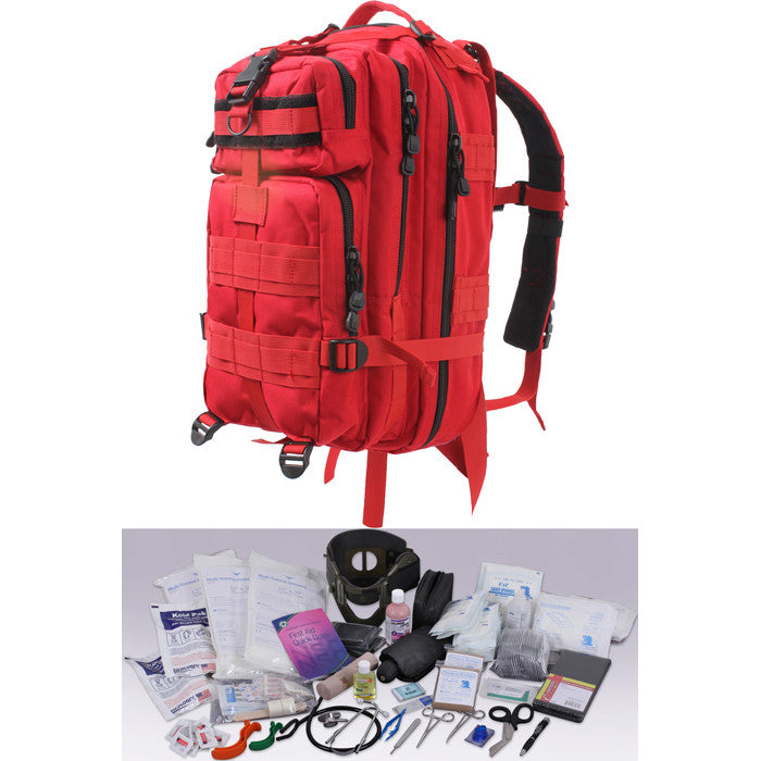 Red - EMS 200pc EMT Trauma Kit Military Transport Pack