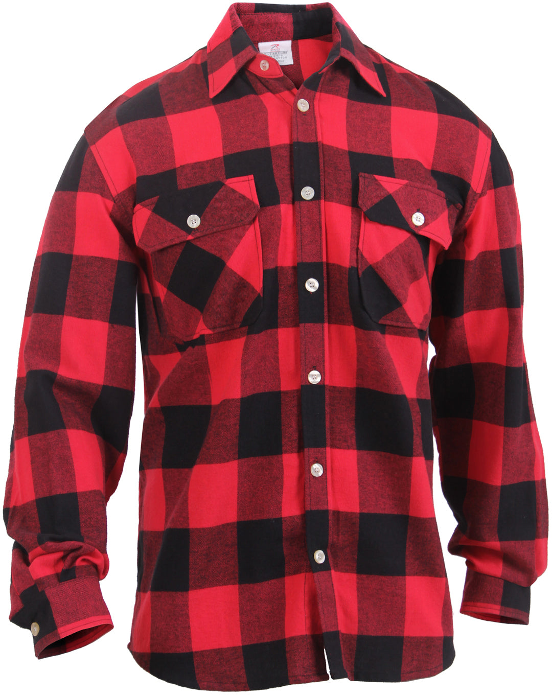 Red - Buffalo Plaid Lightweight Brawny Flannel Shirt