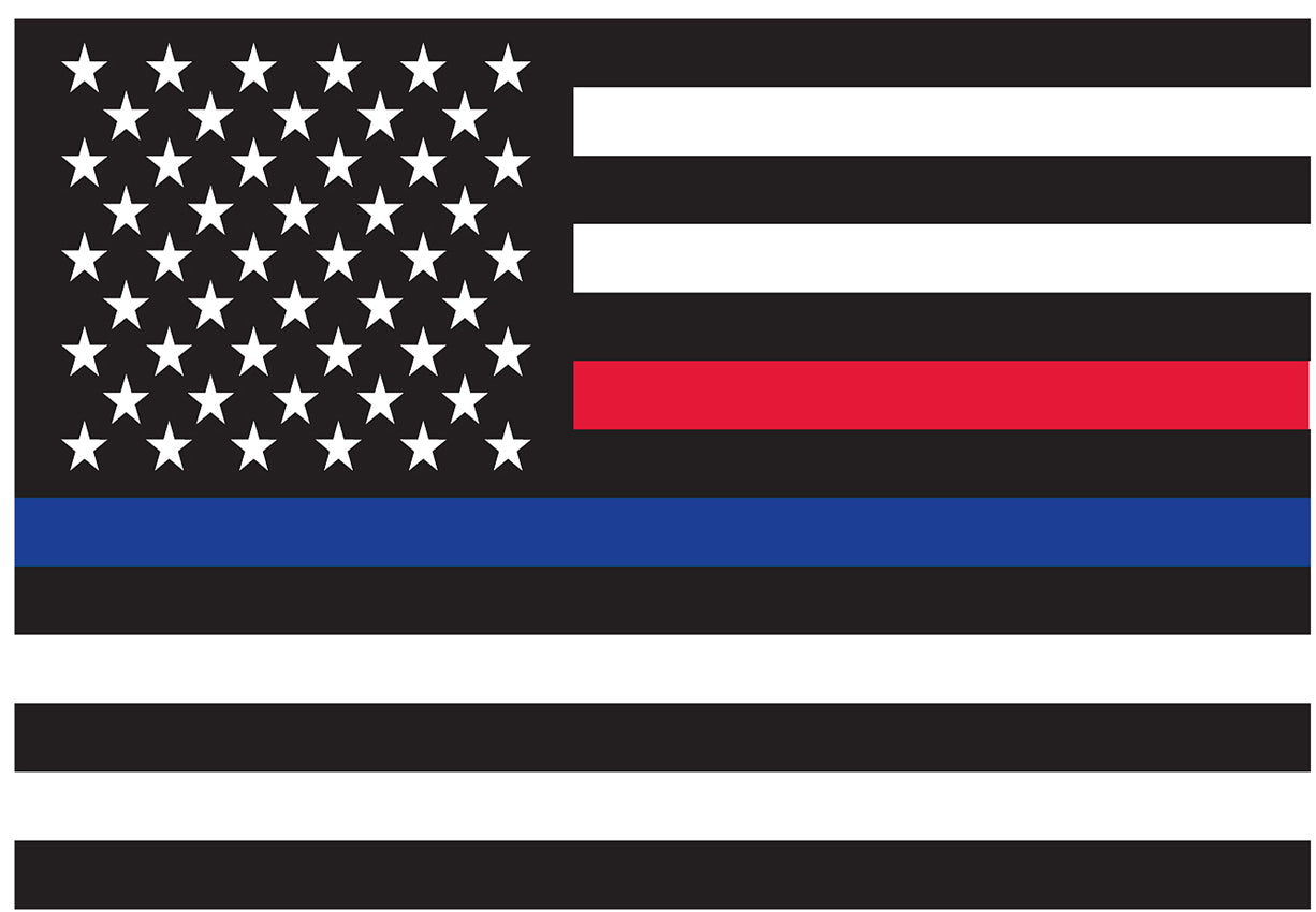Thin Blue Line & Red Line Law Enforcement Flag Sticky Decal (Back-Gum)