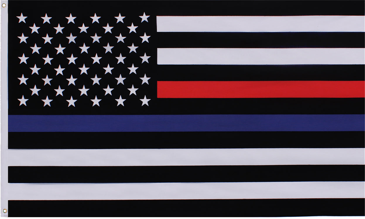 US American Thin Blue Line (Support The Police) & Thin Red Line (Support The Firefighters) Flag 3' x 5'