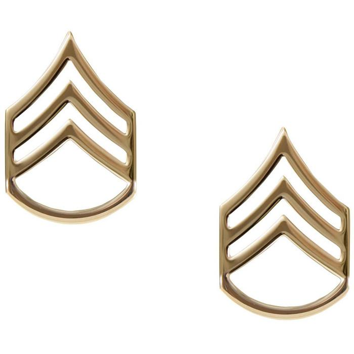 Polished - Military Staff Sergeant Pin-On Insignia Pair SSG