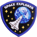 "Blue Space Explorer Astronaut Morale Patch with Hook & Loop Back 3"" X 3 1/8"""