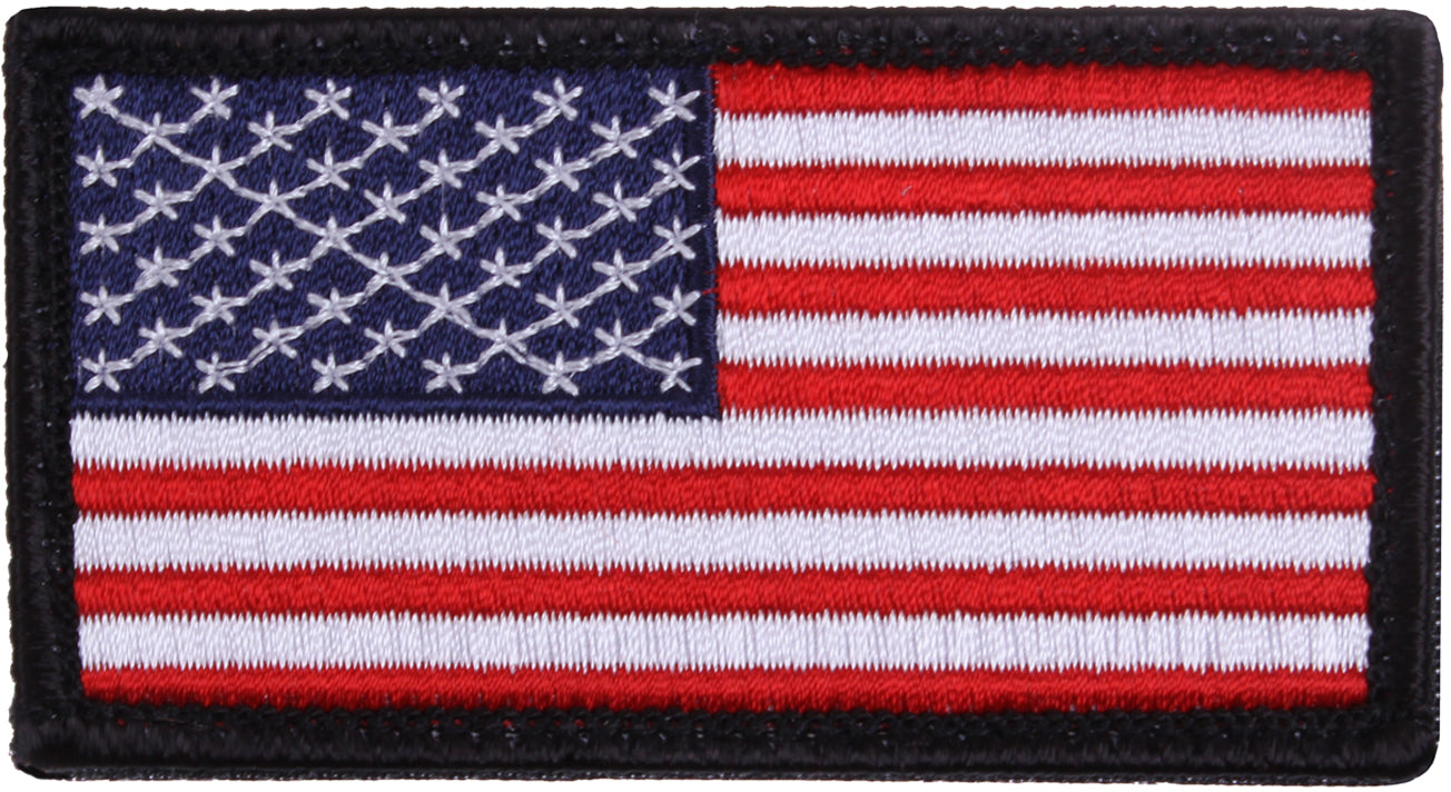 Red White Blue - US Flag Patch with Black Border / Hook and Loop Closure - USA Made