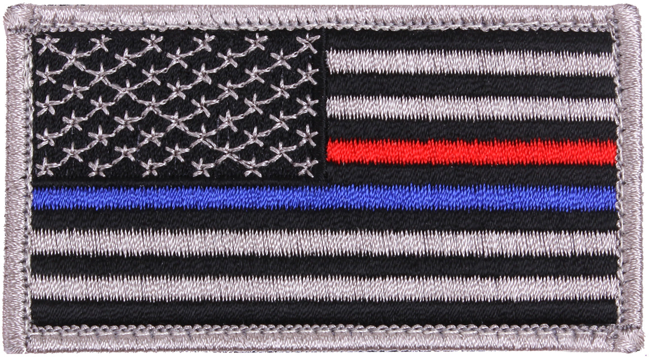 US American Thin Blue Line (Support The Police) & Thin Red Line (Support The Firefighters) Patch 1 7/8