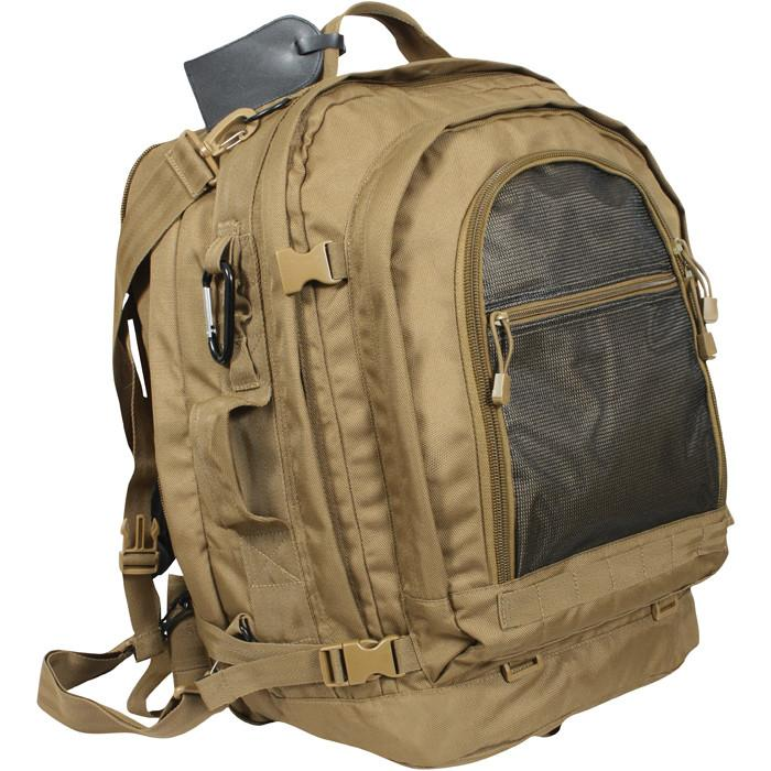 Coyote Brown - Military MOLLE Compatible Travel Backpack with Shoulder Straps