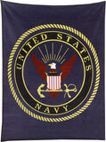 Navy Blue - UNITED STATES NAVY Fleece Blanket with USN Emblem