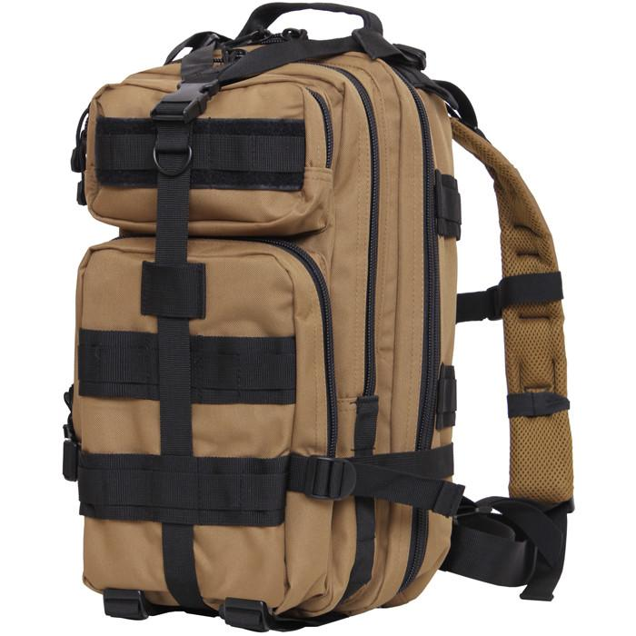 Coyote Brown Black - Military MOLLE Compatible Medium Transport Pack