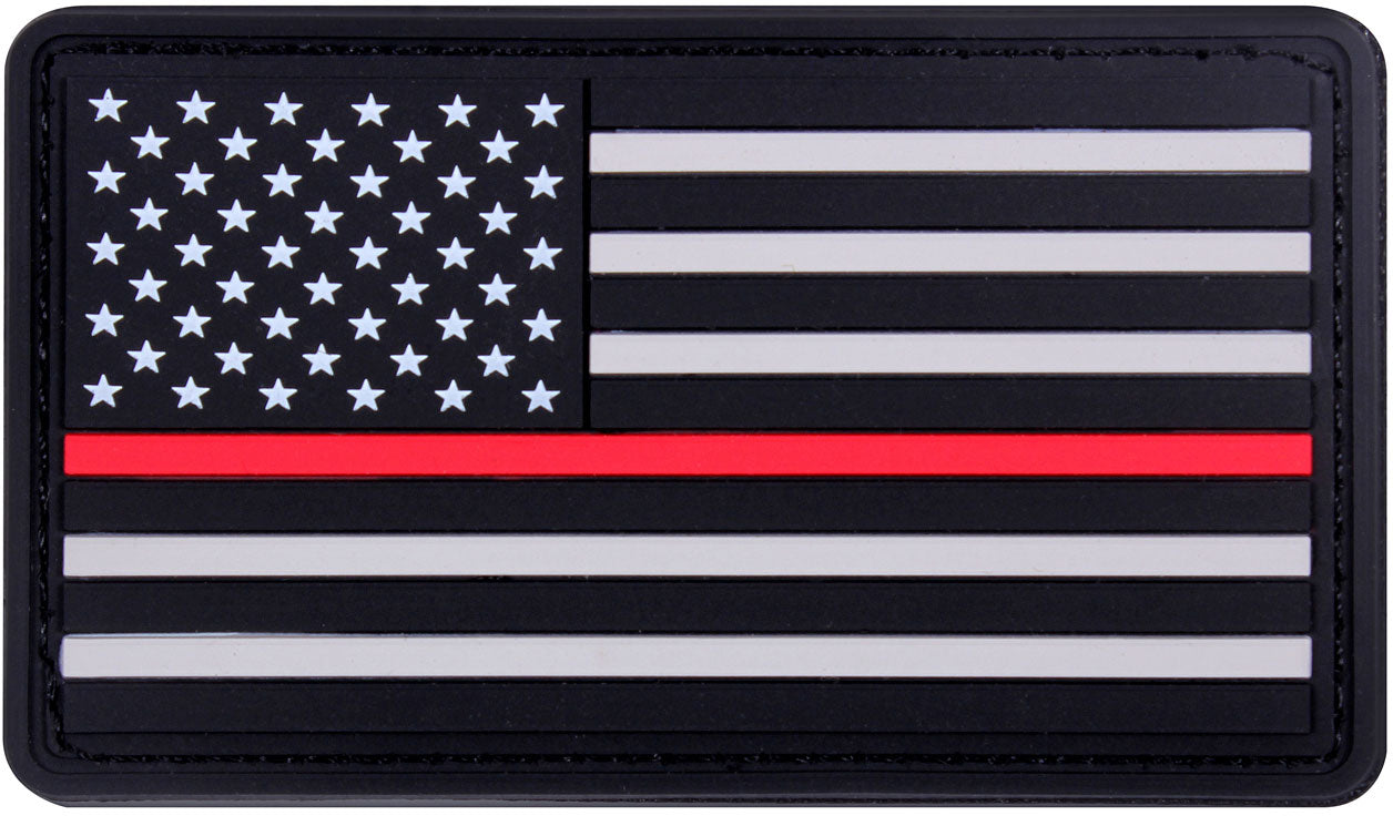 Thin Red Line Support The Firefighters US Flag PVC Patch 1-7/8