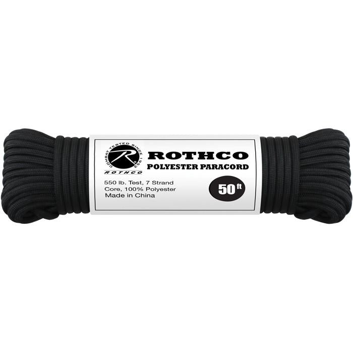 Black - Polyester 550 LB Tested 100 Feet Paracord Rope