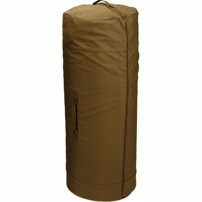 Coyote Brown - Military Duffle Bag with Side Zipper 25 in. x 42 in. - Cotton Canvas