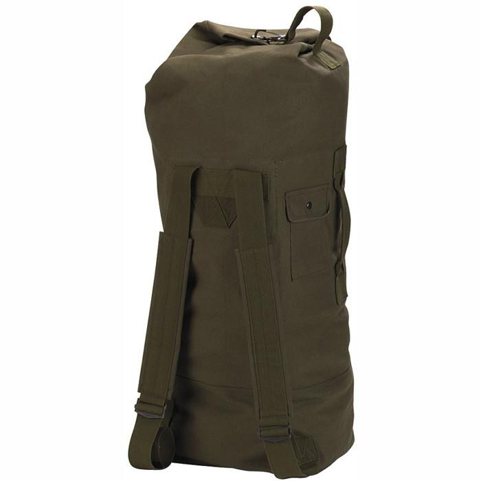 Olive Drab - Military GI Style Double Strap Duffle Bag 22 in. x 38 in. - Cotton Canvas