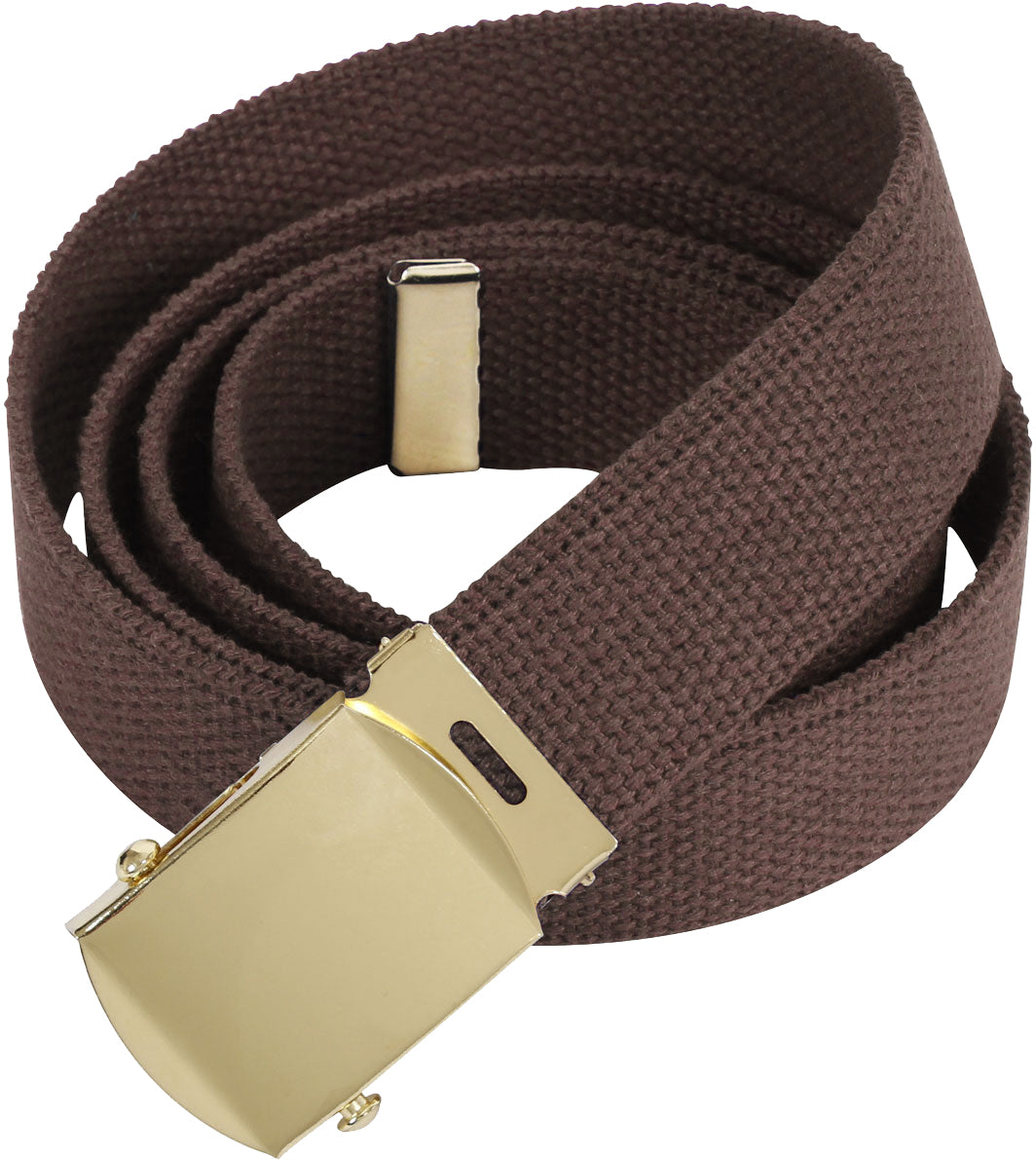 Brown - Military Web Belt with Gold Brass Buckle