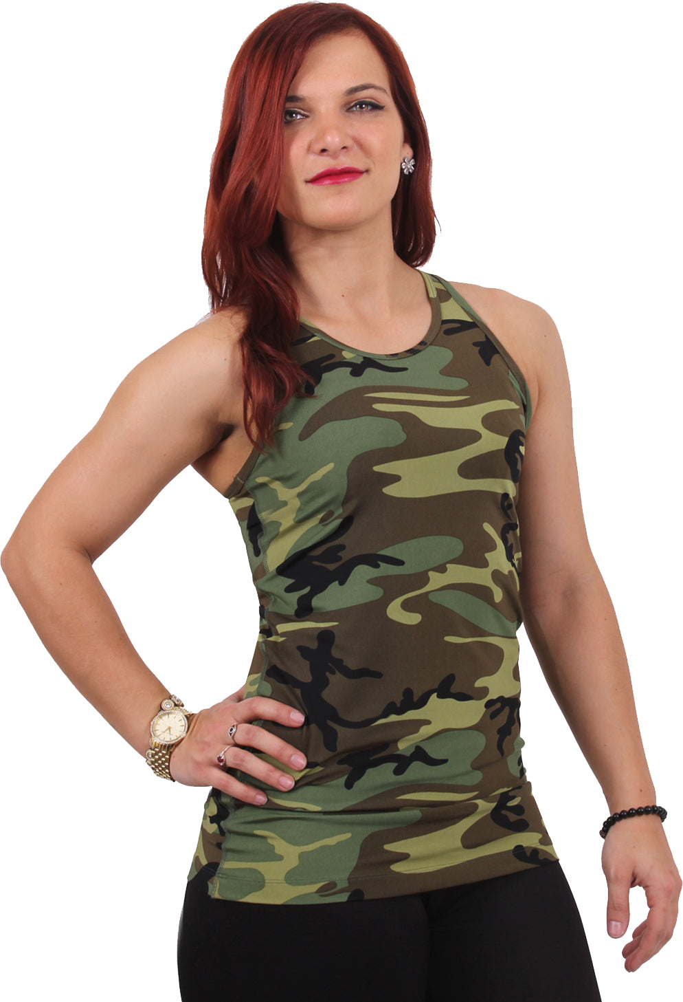 Woodland Camouflage - Womens Workout Performance Tank Top