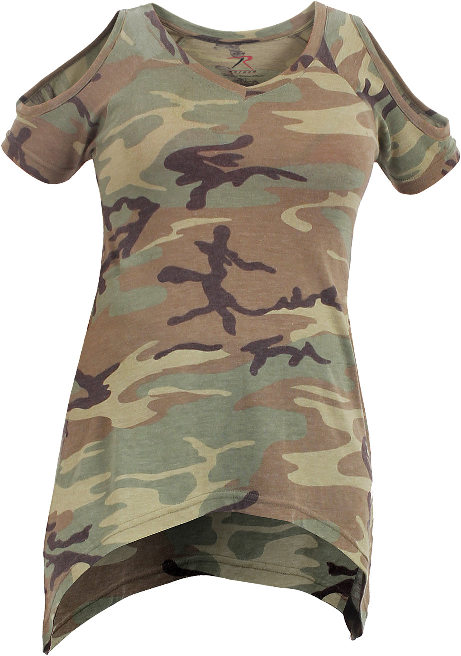 Woodland Camouflage - Womens Cold Shoulder Top
