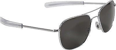 Chrome Aviator Sunglasses Air Force Style American Optics Grey Lenses With Case