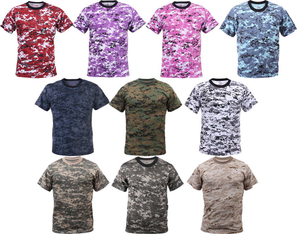 Digital Camouflage Tactical Military Short Sleeve Army Camo Shirt