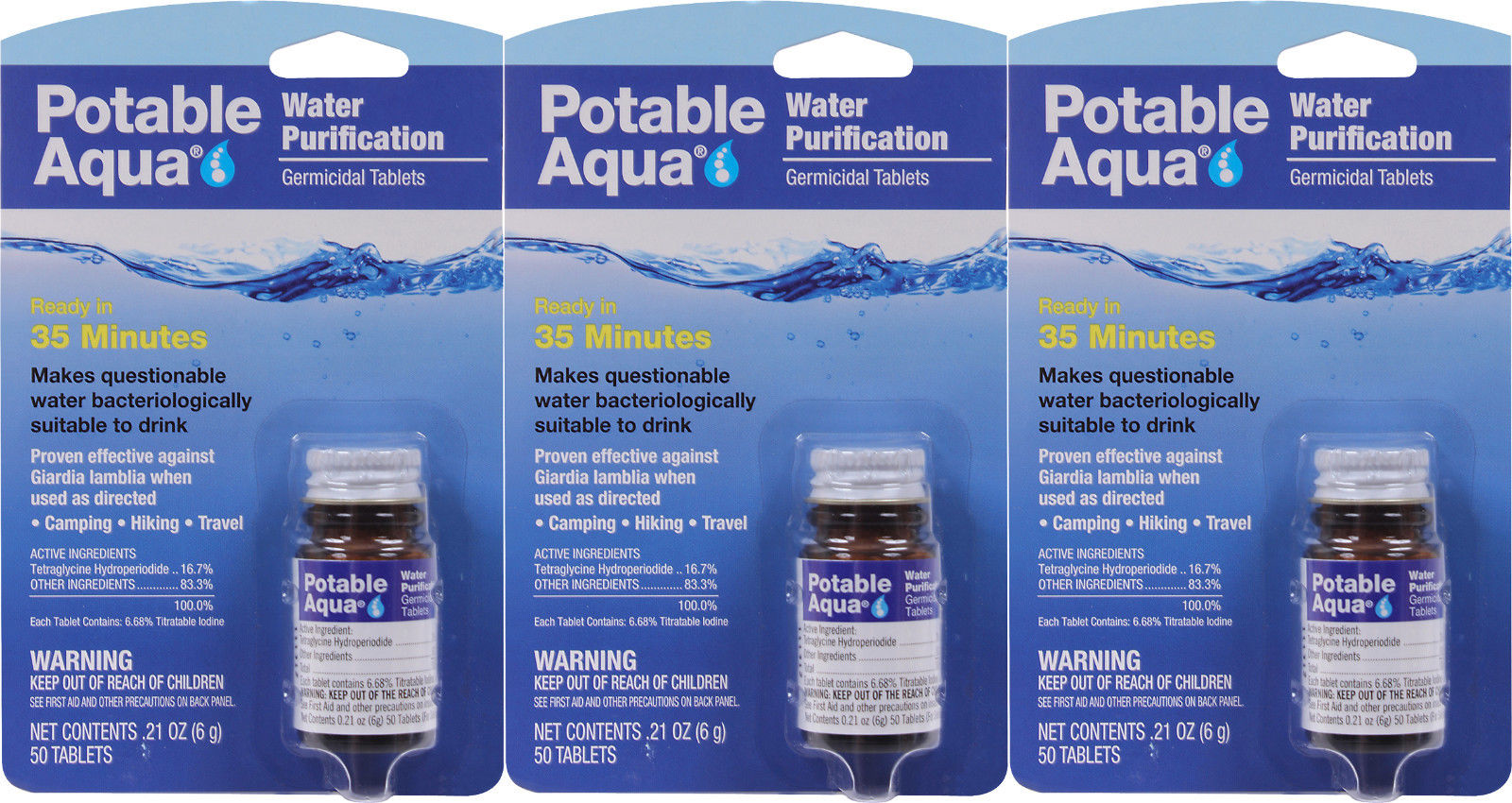 Potable Aqua Water Purification Tablets - 3 Pack