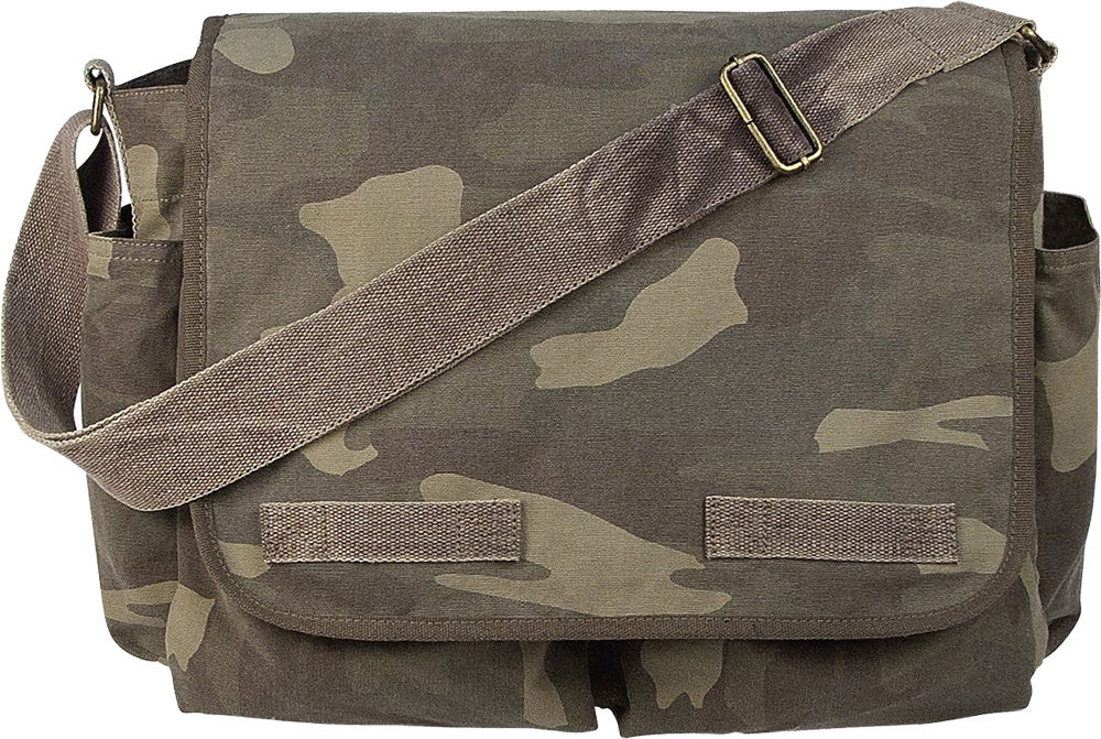 Woodland Camouflage Military Heavyweight Canvas Classic Messenger Bag