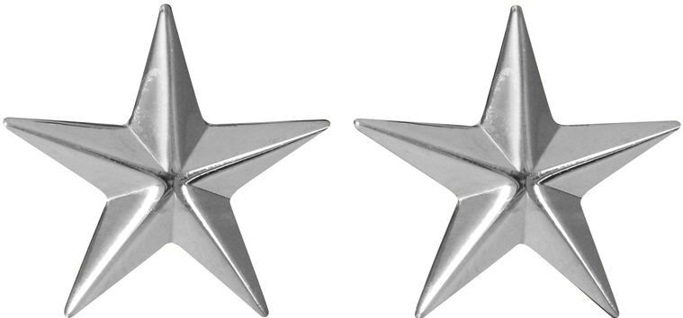Silver Polished Brigadier General 2 Stars United States Army Rank Insignia Pin