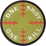 Olive Drab Military One Shot One Kill Patch With Hook Back 3.25