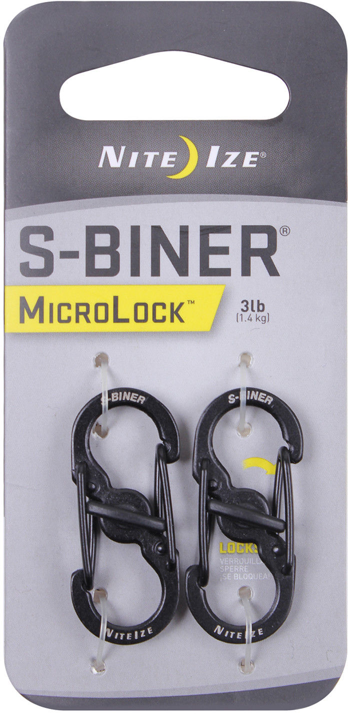 Nite Ize Black Stainless Steel S Biner Micro Lock Key Chain Carabiner 2 PACK