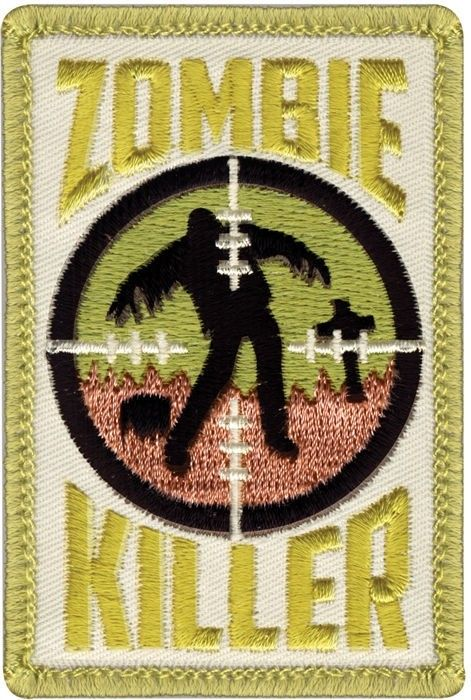 Olive Drab Military Zombie Killer Patch With Hook Back 2