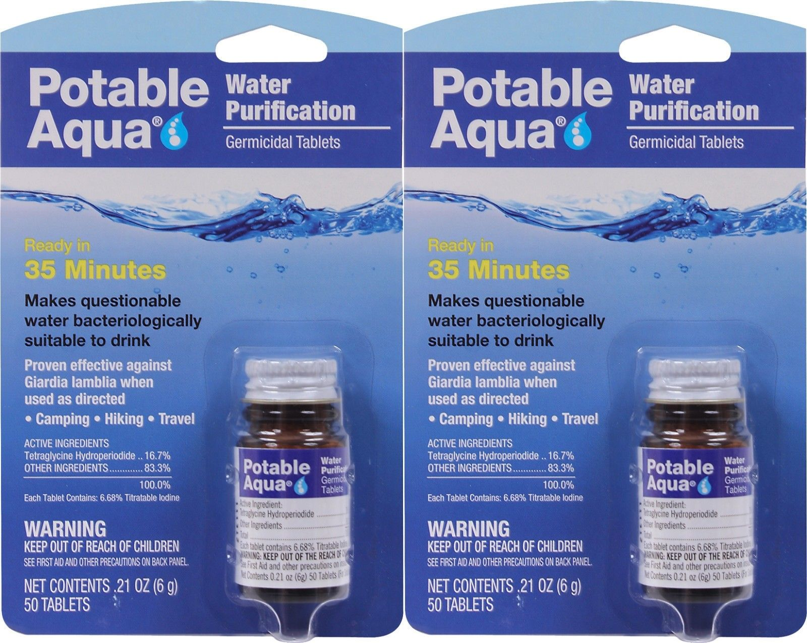 Potable Aqua Water Purification Tablets - 2 Pack