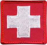 White Cross Red Embroidered Morale Patch 1-7/8