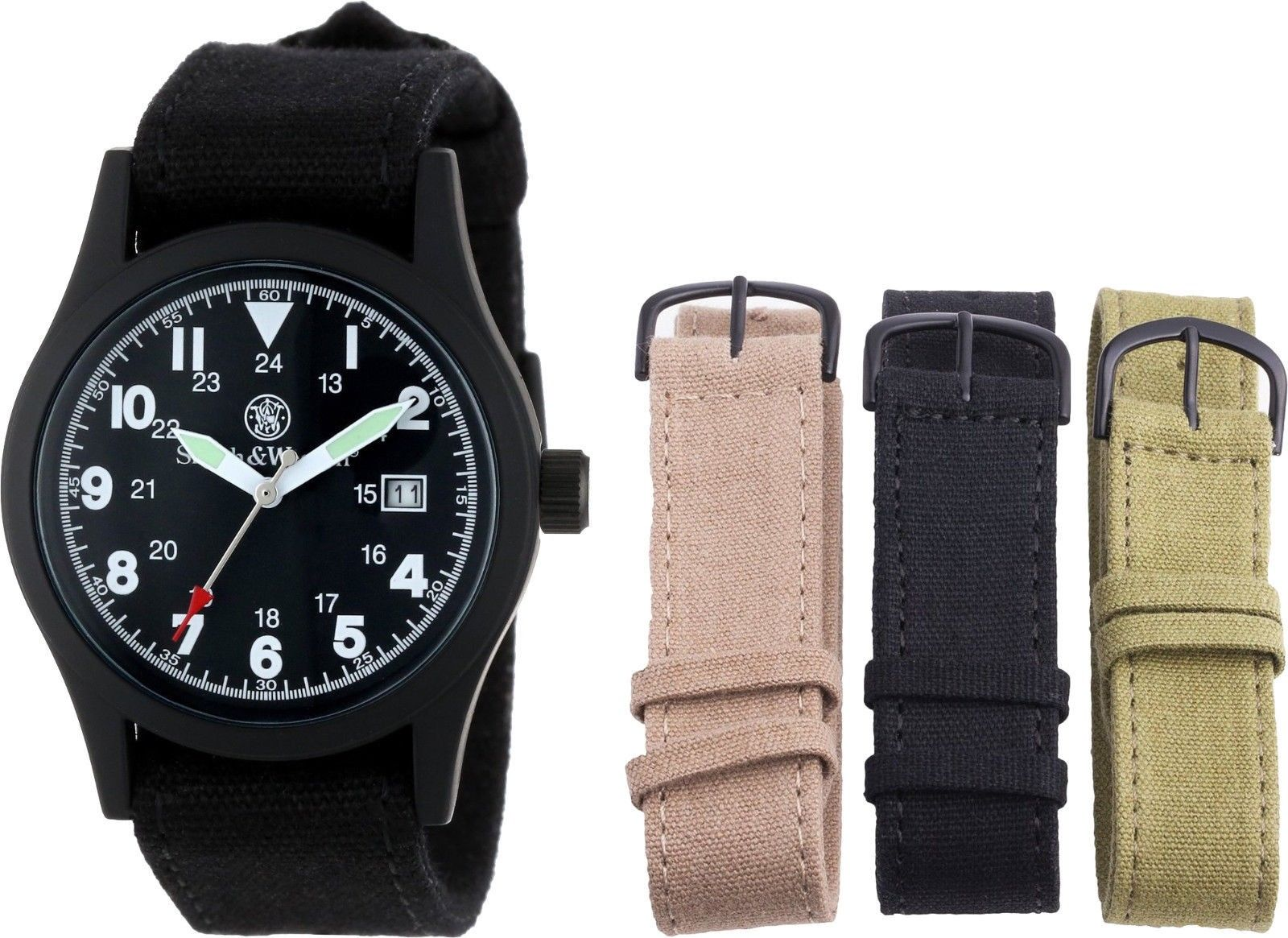 Smith & Wesson Black Water Resistant Military Interchangeable Band Watch Set