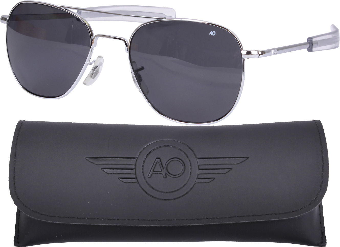 AO Eyewear Chrome Aviators 55mm Grey Lenses Polarized Air Force Pilot Sunglasses