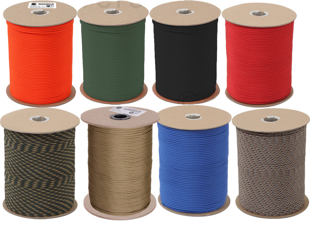 550LB Type III Military Nylon Parachute Cord Rope 1000 Feet Spool