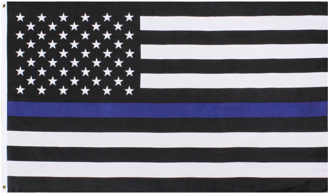 Subdued Thin Blue Line US Flag Support The Police American Flag 3' x 5'
