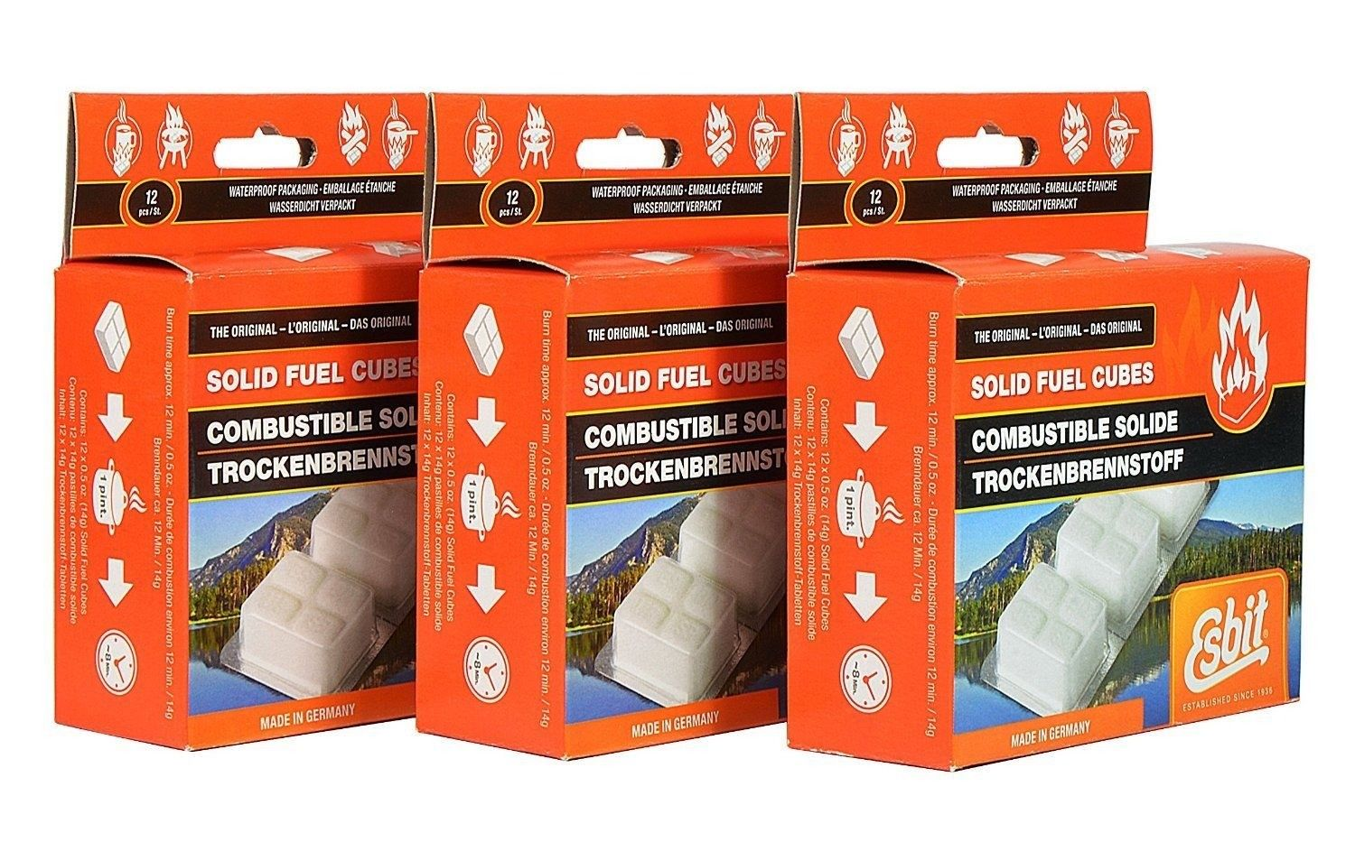 Esbit 1300-Degree Smokeless Solid Fuel Tablets, 14 gram - 36 pieces