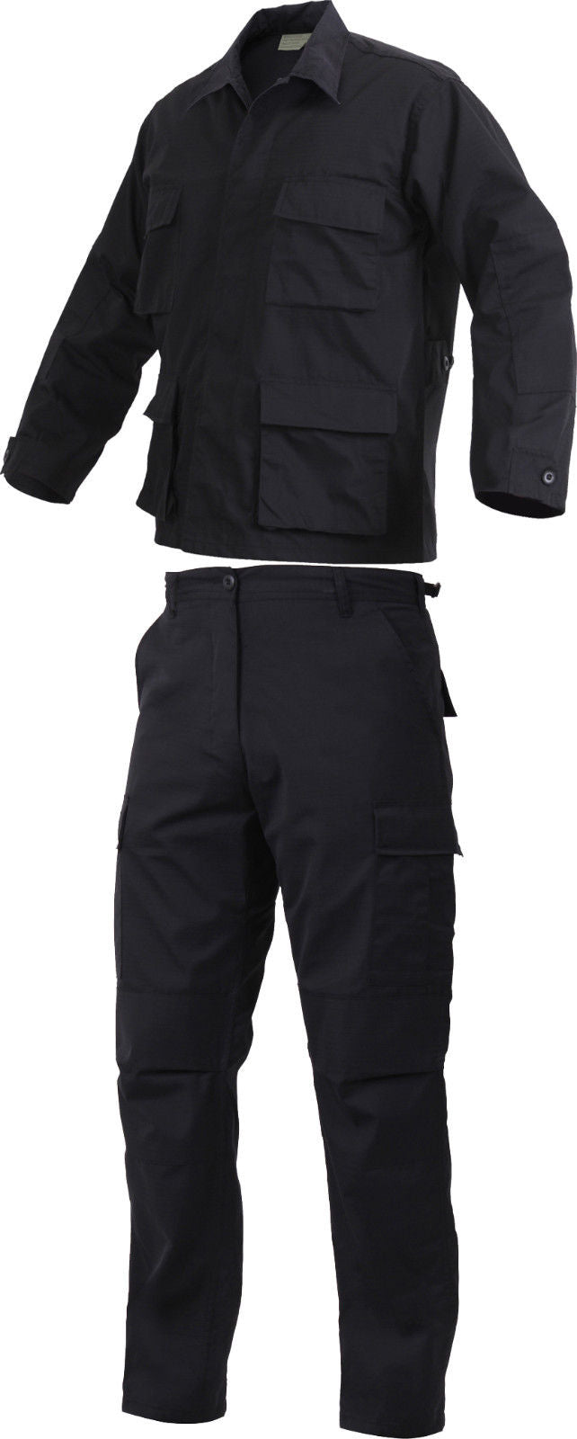 Black Law Enforcement SWAT Cloth Poly-Cotton Rip-Stop Cargo BDU Uniform